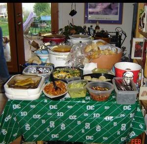 superbowl food spread